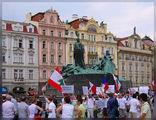 Памятник Гусу и антиизраильская демонстрация 'Кедра' / Чехия