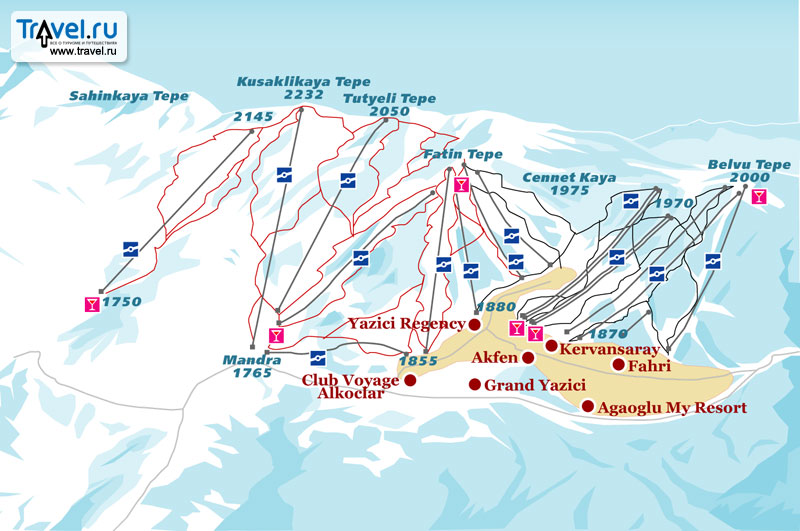Схема трасс и отелей Улудага