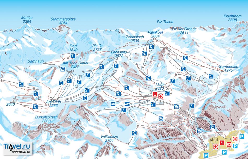 3. Карта-схема трасс Обертауерна (Зальцбург).  Для просмотра в полный размер нажмите на картинку.