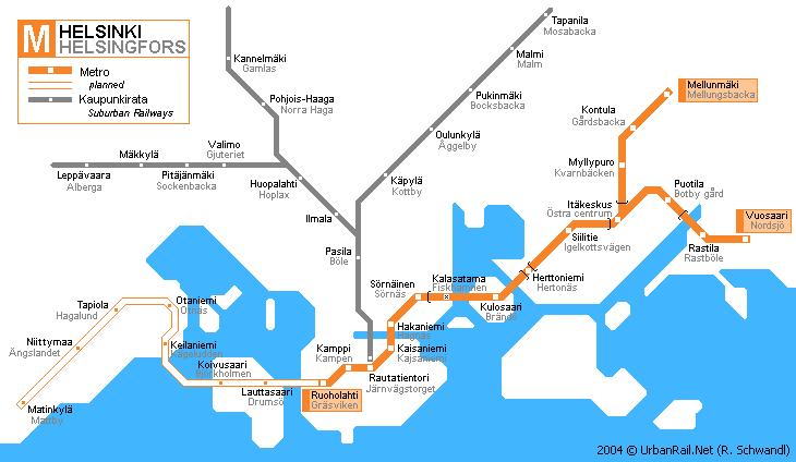 Система метро Хельсинки охватывает небольшую часть территории- в основном, это восточные районы города.