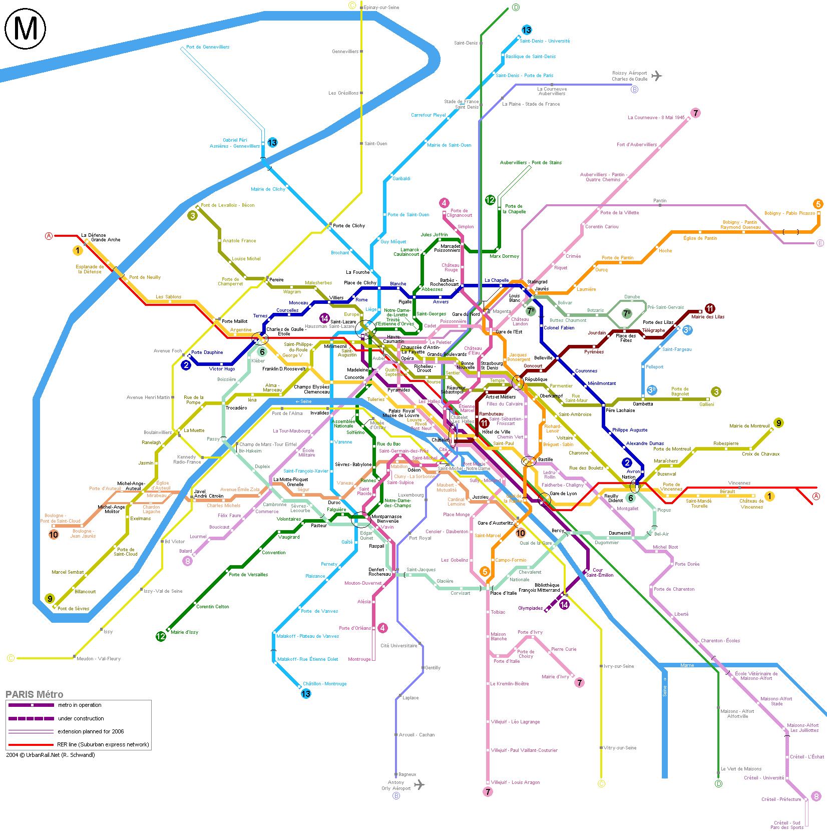 Схема метро Парижа.