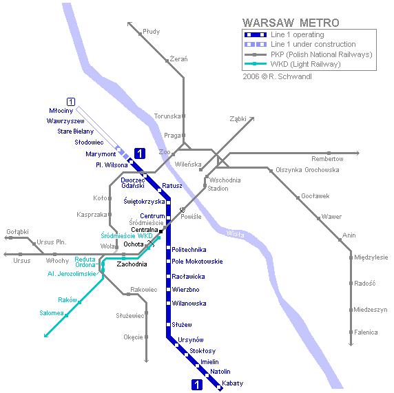 Схема метро Варшавы Metro map of Warsaw.