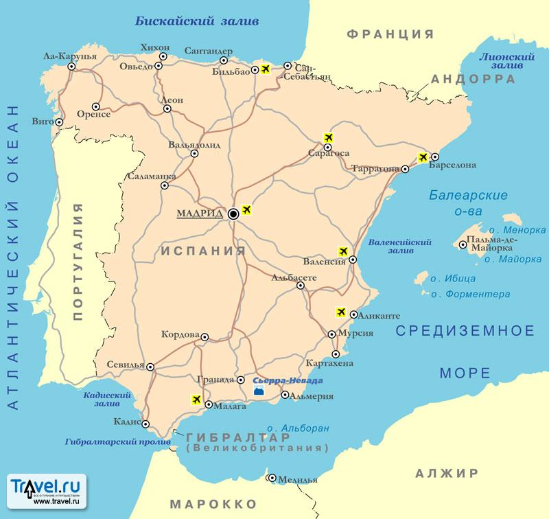 Карта курортов Испании / Travel.Ru / Страны / Испания / Карты: http://guide.travel.ru/spain/map/spain_resorts_map.html