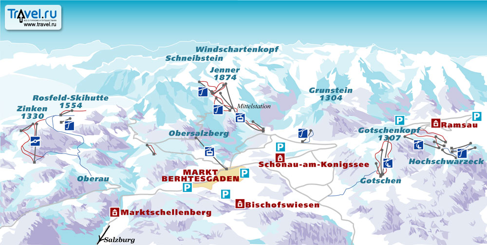 Бергтесгаден (Berchtesgaden) - Карты и схемы трасс горнолыжных курортов мира.