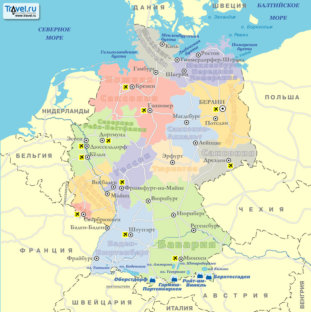Карта горнолыжных курортов Германии / Travel.Ru / Страны ...