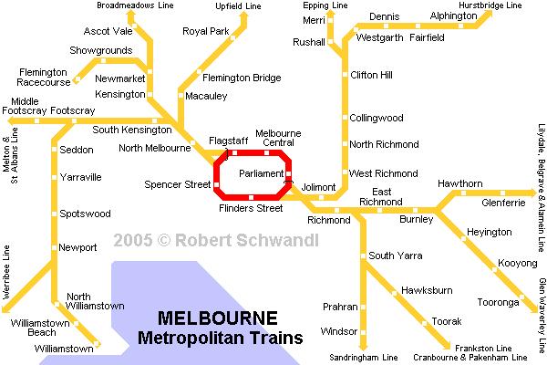 Карта метро Мельбурн Австралия Melbourne map.