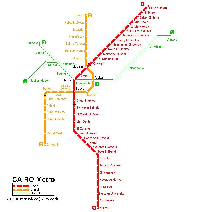 Схема метро Каира.