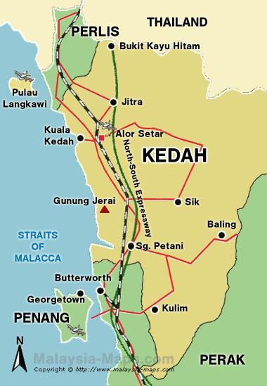 Карта штата кедах