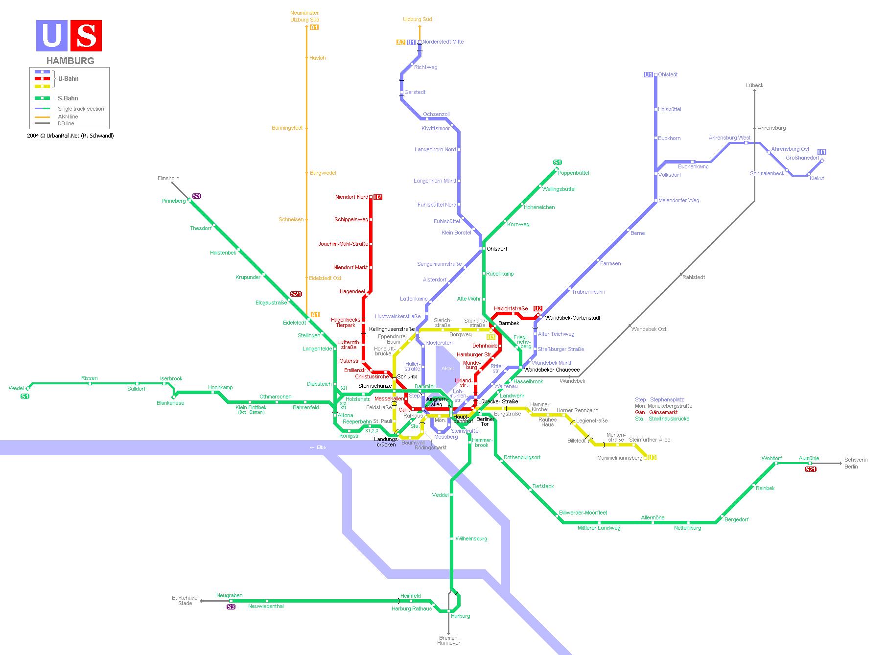 Схемы метро.  Метрополитены Европы.  Метрополитен Гамбурга - это система общественного транспорта города Гамбурга...