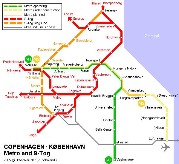 ...систему линий метро, которая обслуживает Тёрбню, Фредериксенбург и столицу Дании Копенгаген.Копенгагенское...