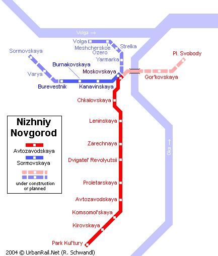 Карта метро Нижний Новгород Россия NizhniyNovgorod.