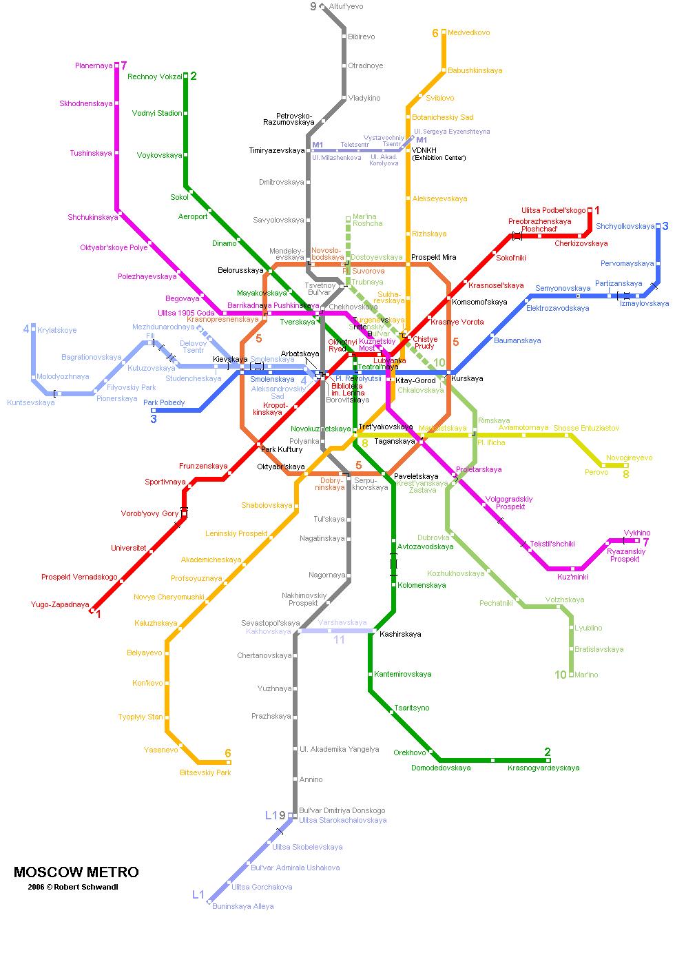 Схема с MetroPlanet на английском языке.  Иноязычные.  2001.