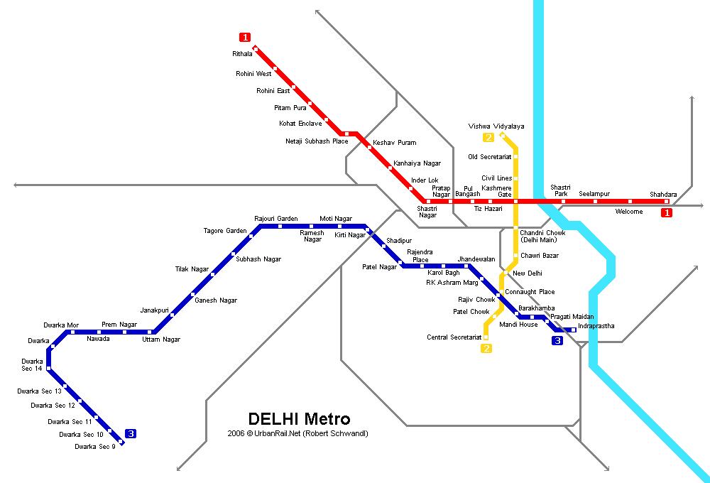 Схема метро Индии.