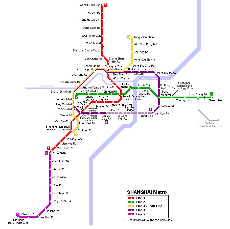 Карта метро Шанхая.