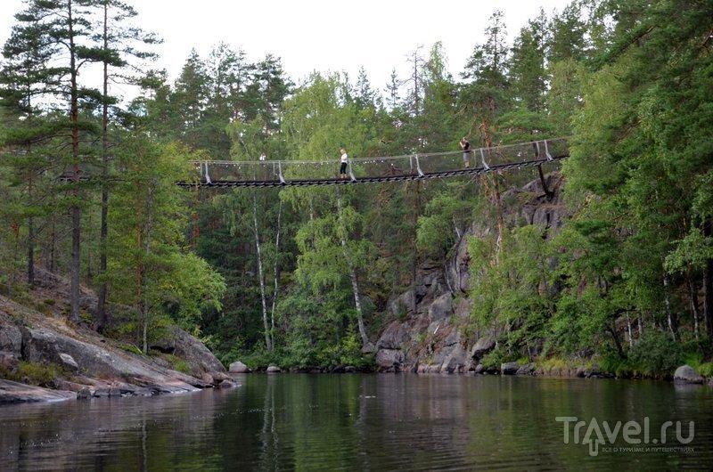 Не каждый турист осмеливается пройти по подвесному мосту