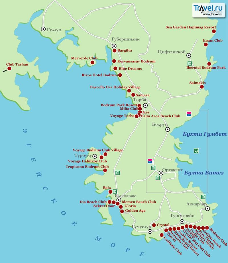 Карта курорта Бодрум · Схема