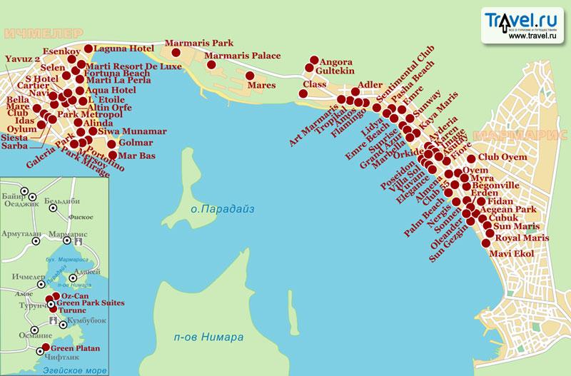 Карта курорта.