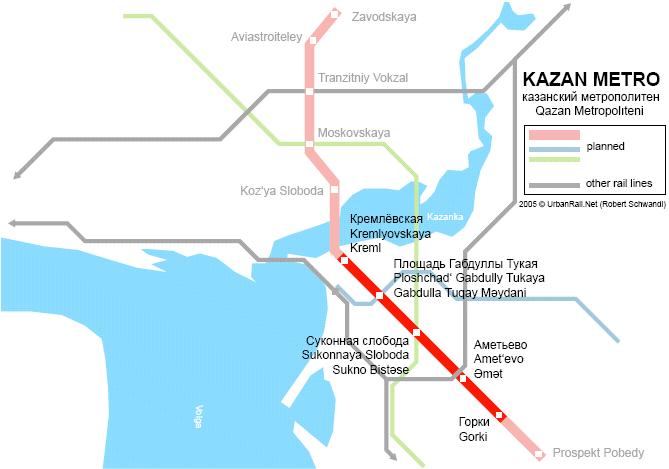 Каза́нский метрополите́н .  Перспективная схема линий Казанского метрополитена.