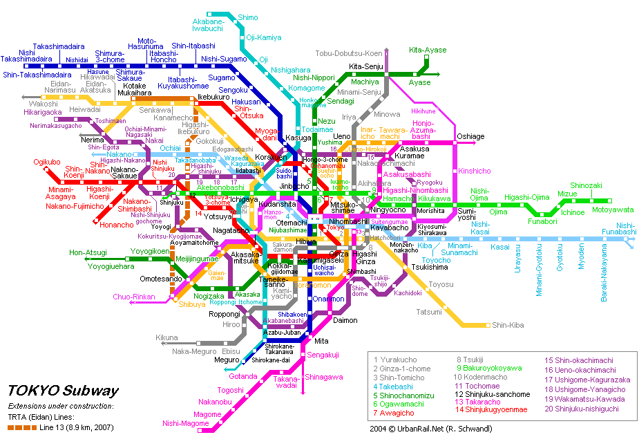 Схема карта метро в Токио.  Схема Токийского метрополитена.