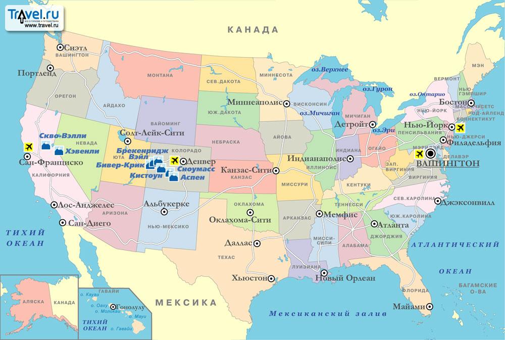 Карта горнолыжных курортов сша