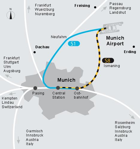 Ориентироваться в Германии нужно, как всегда, на зеленую букву S. Как добраться из аэропорта Мюнхена в центр Мюнхена.