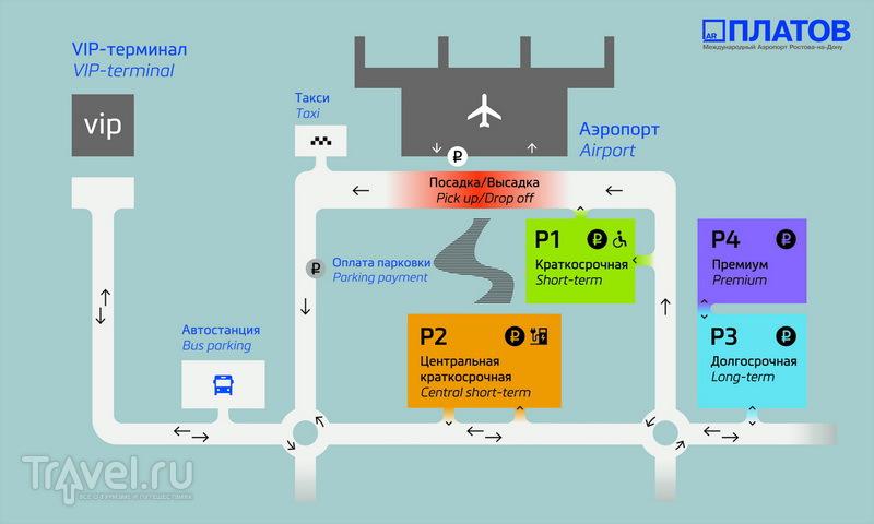 Расположение парковок в аэропорту Платов / Россия