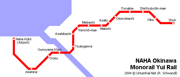 Схема монорельсовой дороги в Наха.