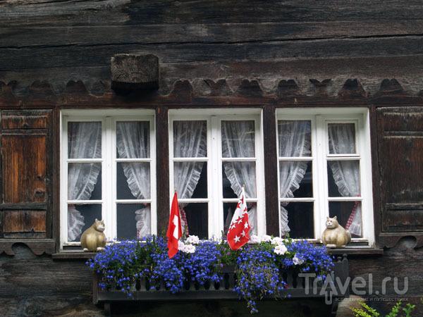 Типичный швейцарский подоконник - с флажками и цветами / Фото из Швейцарии