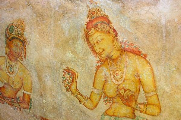 Фрески в крепости Сигирия, Шри-Ланка / Фото со Шри-Ланки