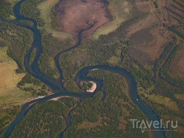 Вид на реку Авача из самолета / Фото из России