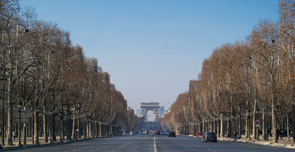Зимние Елисейские Поля, Париж / Фото из Франции