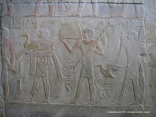 Барельефы в мастабе Ти, Саккара / Фото из Египта