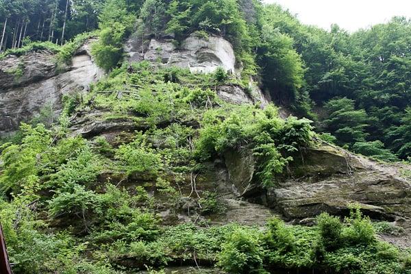 Скалы ущелья вдоль дороги Gotteron / Фото из Швейцарии
