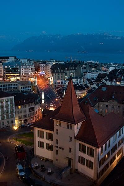 Ночная Лозанна / Фото из Швейцарии