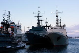 Бухта с кораблями Северного флота / Россия