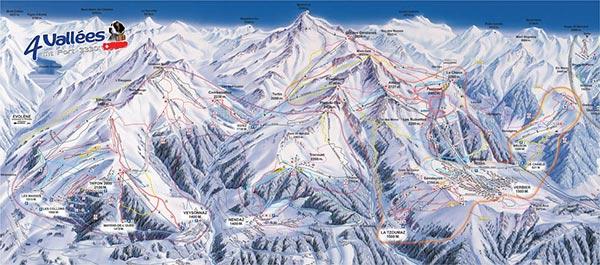 Карта трасс Вербье и Четырех Долин
