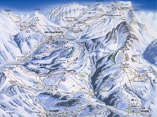 Карта трасс Виллара, Грийона и Дьяблере