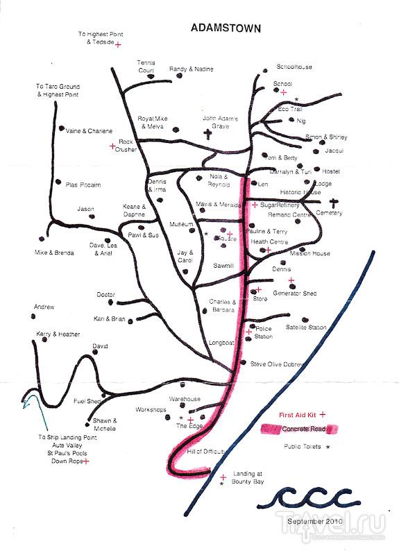 Туристический план Адамстауна / Фото с Питкэрна