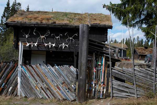 Забор кемпинга из старых лыж в Норвегии / Фото из Норвегии