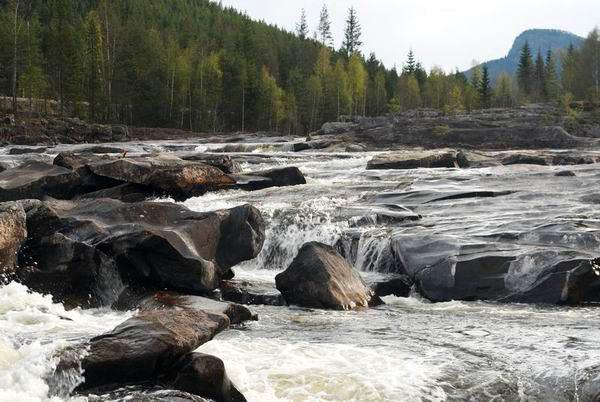 Пороги на горной реке в Норвегии / Фото из Норвегии