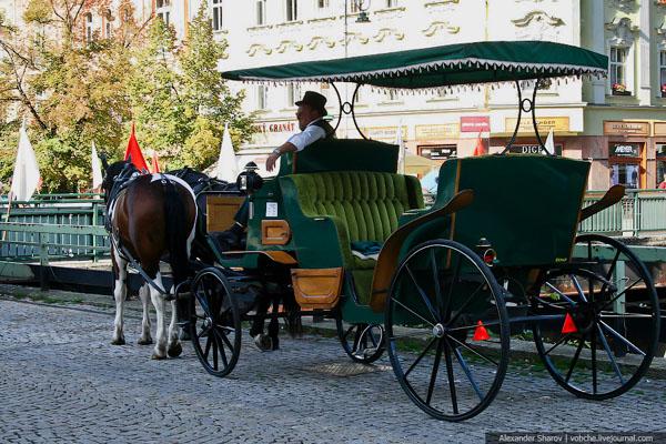 Конная повозка на улице Карловых Вар / Фото из Чехии