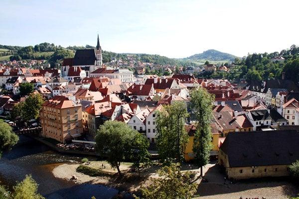 Вид на город Чески-Крумлов из замка / Фото из Чехии