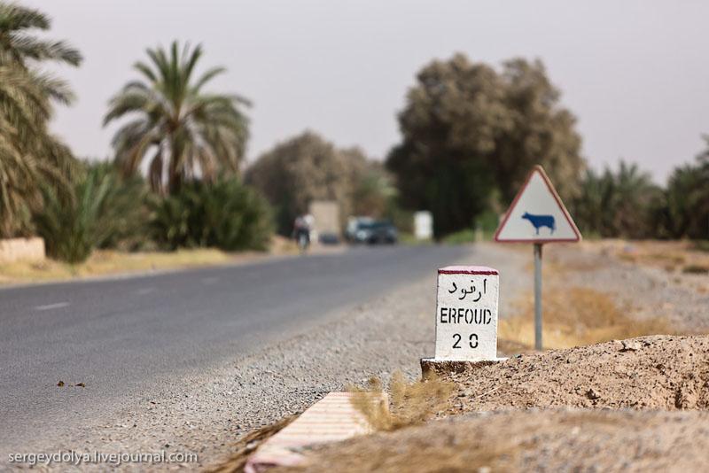 """""""Километровый"""" столбик на дороге в Марокко / Фото из Марокко"""