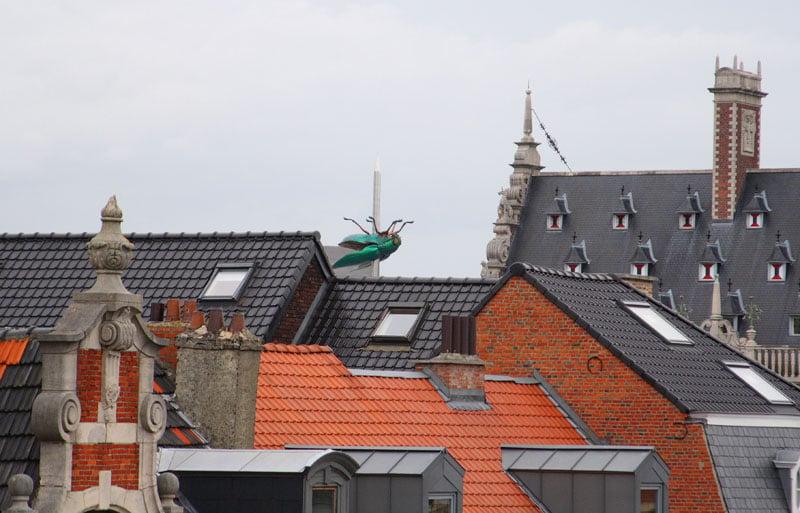 Вид на крыши Лёвена и монумент с жуком-скарабеем / Фото из Бельгии