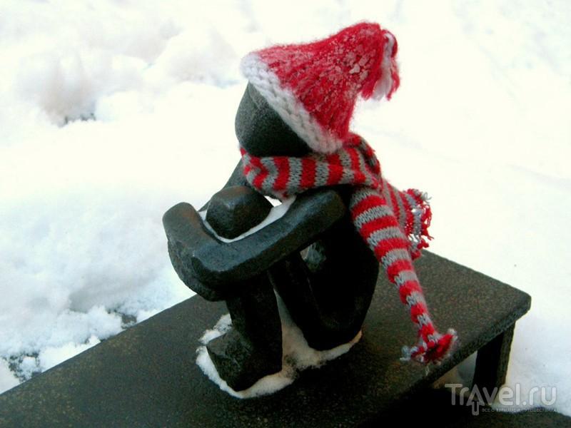 """Зимой туристы укутывают """"Железного мальчика"""" шарфом / Швеция"""