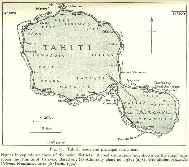 Карта Таити / Фото из Французской Полинезии