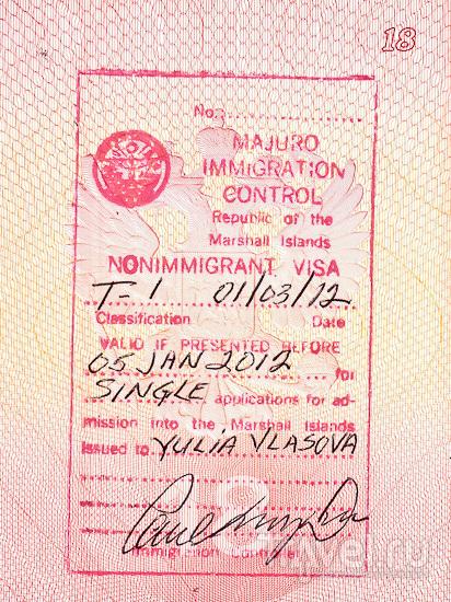 Виза в паспорте / Маршалловы острова