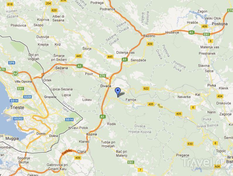 Шкоцан на карте / Словения