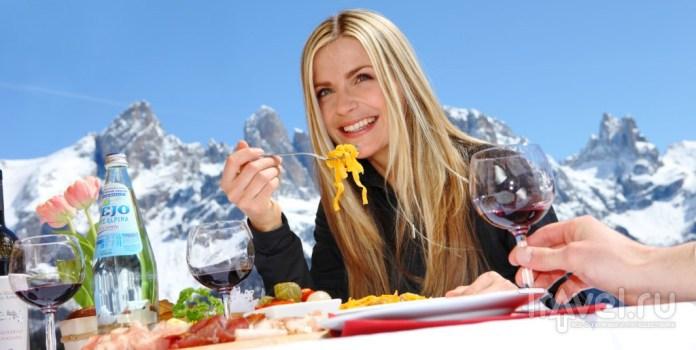 Итальянская кухня на фоне гор