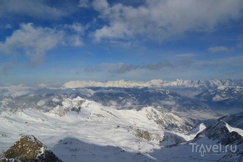 Альпы со смотровой площадки (3029 м) на леднике Китцштайнхорн, Австрия